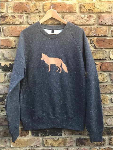 Fox Sweatshirt - hand printed, metallic, comfy sweatshirt