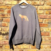 Fox Sweatshirt - unisex low carbon, organic cotton, fairly traded, hand printed
