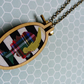 Mini Embroidery Hoop Pendant Cameo Necklace