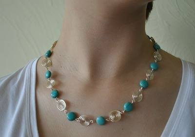 Turquoise and Fine Silver Spiral Necklace by Tammy Betson