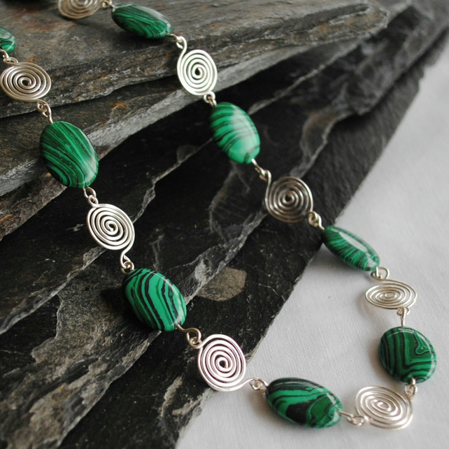 Green Malachite and Silver spiral Necklace, jewellery, gemstone