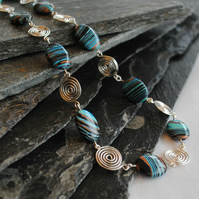 Silver Spirals and Malachite Necklace in Fine Silver, gemstone, jewellery