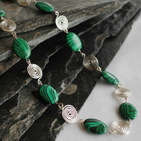 Necklace, Silver Spirals and Malachite in Sterling Silver, gemstone jewellery