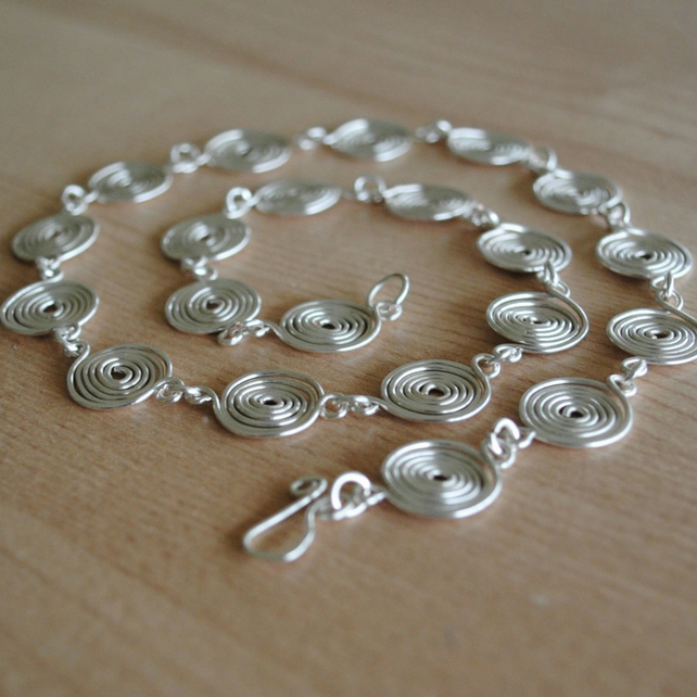 Spiral Necklace in STERLING SILVER (closed spirals) jewellery