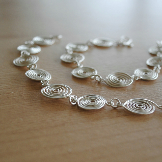 Silver Spiral Necklace STERLING SILVER (open & closed) - jewellery
