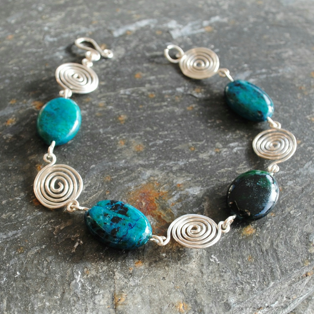 Azurite and Sterling silver spiral bracelet, gemstone, jewellery