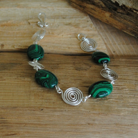 Green Malachite and Silver Spiral Bracelet, gemstone jewellery