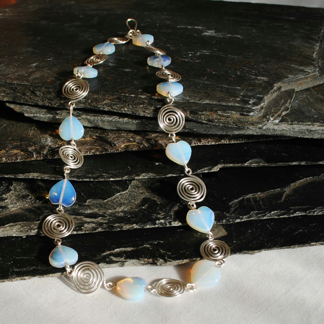Moonstone Hearts and Silver spiral Squares Necklace, jewellery