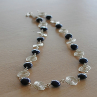 Necklace, Lapis Lazuli and Silver Spiral Necklace gemstone jewellery navy blue