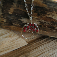 Tree of Life Pendant with red Jade, necklace, jewellery