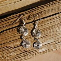 Silver Spiral Earrings (open) jewellery, silver wire jewellery