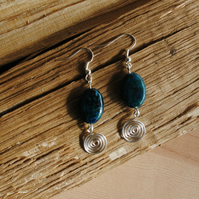 Earrings, Green and Blue Azurite and sterling silver spiral, gemstone jewellery