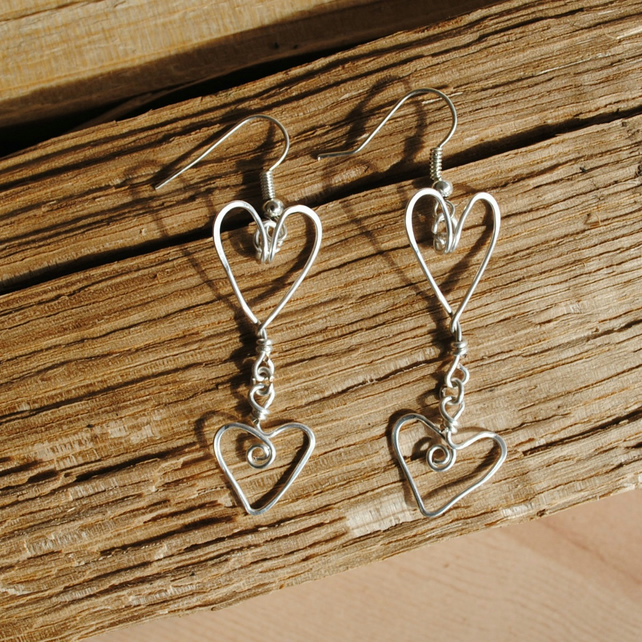 Earrings, Silver Heart Earrings, jewellery