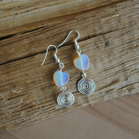 Moonstone Heart and Silver Spiral Earrings, gemstone jewellery
