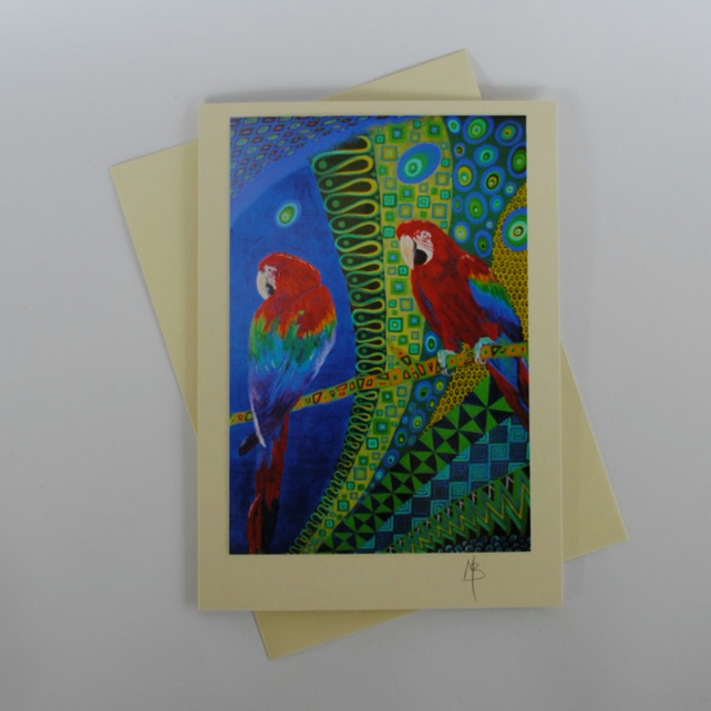 Parrot Art Greeting Card by Mark Betson