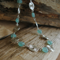 Pale Blue Amazonite heart gemstones with Sterling Silver Spirals Necklace