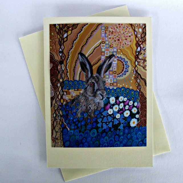Hare Art Greeting Card by Mark Betson