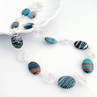 Blue Malachite and Silver Spiral Necklace. Jewellery