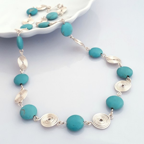 Turquoise and Silver Spiral Necklace by Tammy Betson