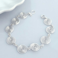 Silver Spiral Bracelet  Christmas gifts jewellery for women birthday gift