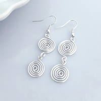 Silver Spiral Earrings  ladies jewellery Christmas gifts for her birthday gift