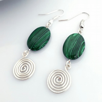 Earrings, Green Malachite and Silver Spiral Earrings gemstone jewellery