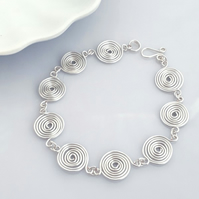 Silver Spiral Bracelet jewellery birthday gift Celtic Christmas gifts for her