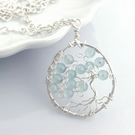 Tree of Life Pendant with Aquamarine, necklace, jewellery, blue