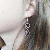 Large Celtic spiral earrings natural earthy rustic boho jewellery copper wire