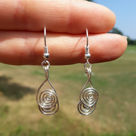 Silver double Spiral Earrings ladies jewellery Christmas gifts stocking filler