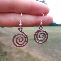 Large Copper spiral earrings wire wrap jewellery tribal celtic boho gifts rustic