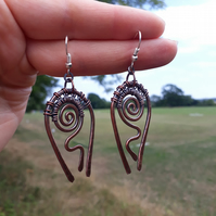 Earrings Tribal chandelier large copper wire wrap earrings rustic druid celtic