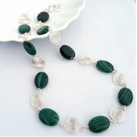 Green Malachite and Spiral Necklace Christmas gift for her gifts for ladies