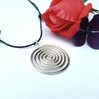 Large silver spiral pendants necklaces Christmas gifts for her birthday gift