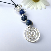 Blue Jasper silver spiral pendants necklaces Christmas gifts for her