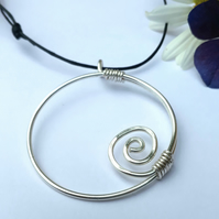 Large silver spiral pendant statement pendants necklaces Christmas gifts