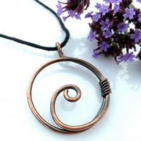 Copper circle spiral pendant Celtic Tribal necklaces Christmas gifts