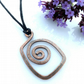 Square spiral copper pendants necklaces Christmas gifts for him or her