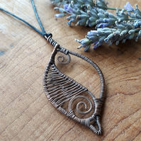 Copper leaf wire wrapped pendants necklaces Christmas gifts for her