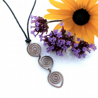 Trio spiral copper pendants necklaces Celtic jewellery Christmas gifts