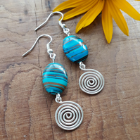 Blue Malachite Silver spiral earrings gemstones jewellery Christmas gifts