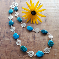 Azurite Silver Spiral Necklaces beaded necklace jewellery Christmas gifts