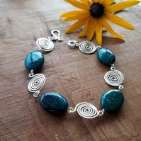 Azurite Silver Spiral Bracelets jewellery Christmas gifts for women gift