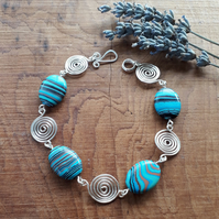 Blue Malachite Silver spirals bracelet Jewellery beaded bracelets Christmas gift