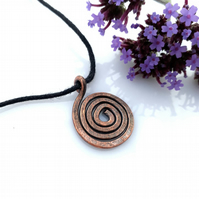 Copper spiral pendant necklaces Christmas gifts for her gifts for him pendants