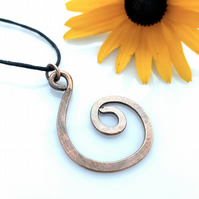 Spiral copper pendants necklaces gifts for him gifts for her Christmas