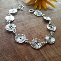 Silver spiral bracelet wire wrap jewellery Christmas gifts for her handmade