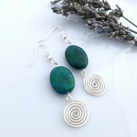 Azurite silver spiral earrings Celtic jewellery Christmas gifts for ladies