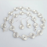 Spiral silver necklace and earrings jewellery set matching set handmade gifts
