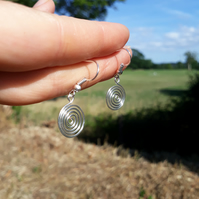 Silver spiral earrings jewellery dangle drop earrings Christmas gifts